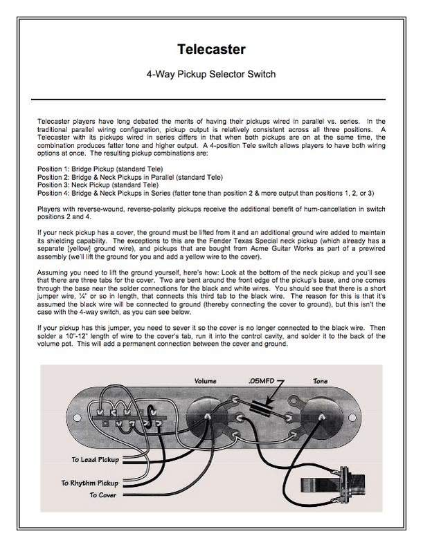 Trouble Shooting Way Switch Install Telecaster Guitar Forum - 4 way switch how it works