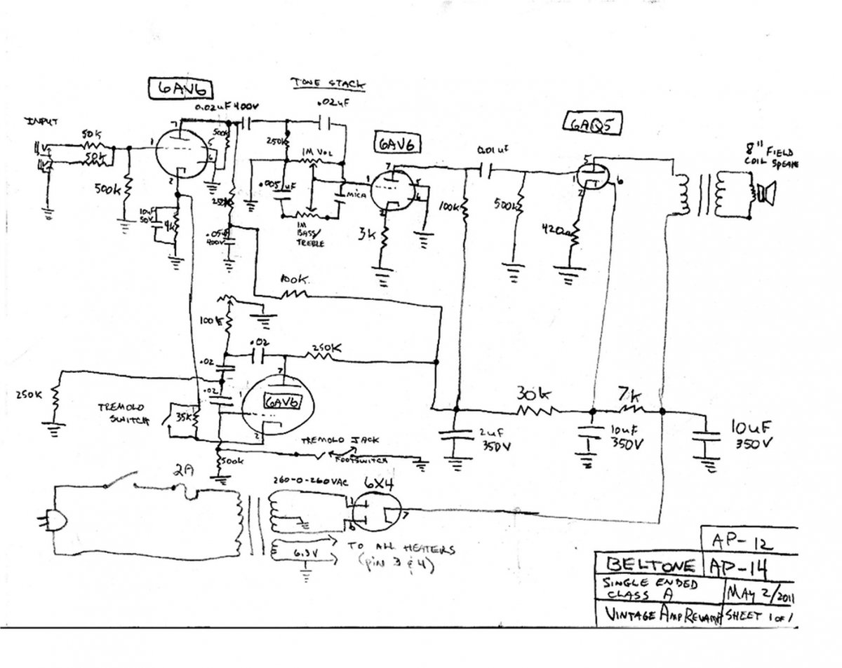 Need A Teisco Type Guitar Wiring Diagram Telecaster Forum Tech Question For Amp Gurus Beltone Ap12 Schematic