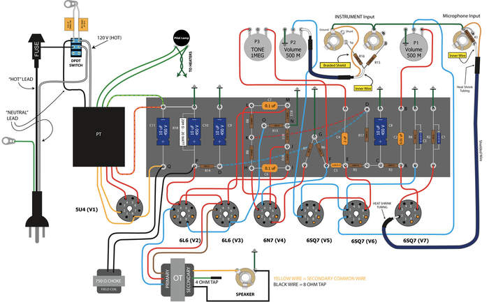 guitar amp wiring diagram guitar wiring diagrams instruction amp wiring diagram at panicattacktreatment.co