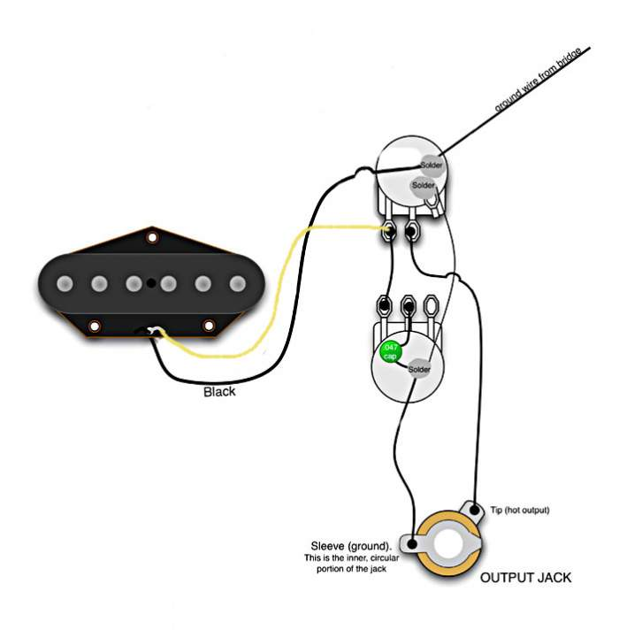 esquire wiring for no switch  but with vol and tone pots