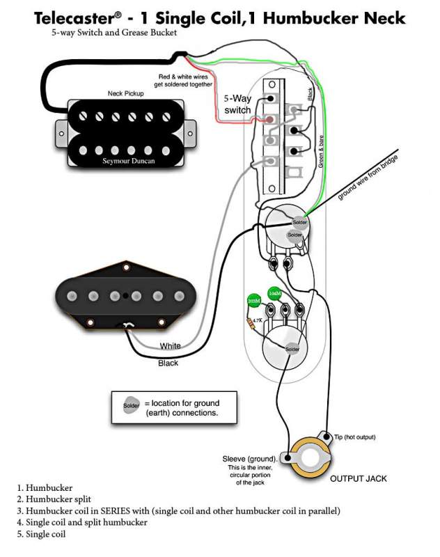 tele w humbucker in neck, regular 5 way switch, and greasebucket 3 Wire Humbucker Wiring-Diagram at bayanpartner.co