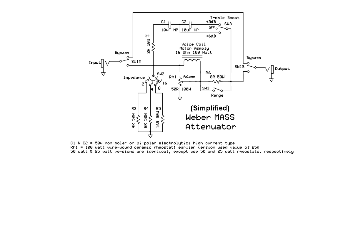Bridged T Pad Attenuator Build Electronics Questions Page 2 The Actual Rheostat I Used Is Wired As In This Picture Ohm Voice Coil Could Be Just Easily A 16 Resistor If Reactive Load Does Not Concern You Schematic Simplified Version Of 100w