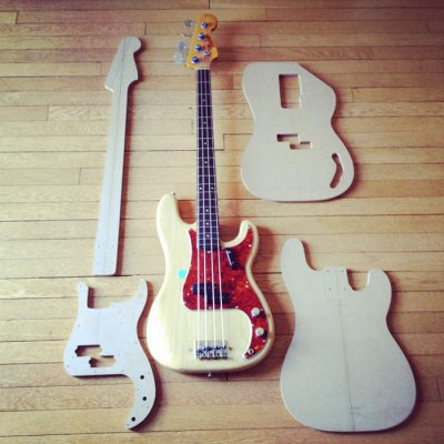 First build vintage fender precision bass inspired for Jazz bass pickguard template