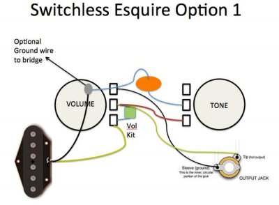 switchless esquire which wiring option telecaster guitar forum. Black Bedroom Furniture Sets. Home Design Ideas