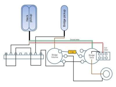 Wiring for 1 humbucker 1 single coil 1 push pull pot