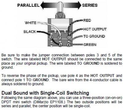 Dimarzio Parallel Wiring - Wire Data Schema •