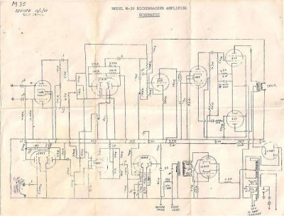 1961 rickenbacker m-30 ek-o-sound amplifier schematic ... crown amp schematic #15