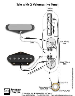2 Pickups 2 Vol Pots Wiring Diagram Help Telecaster