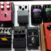 Lot of oddball cheap pedals - dirt, compression, chorus, preamps