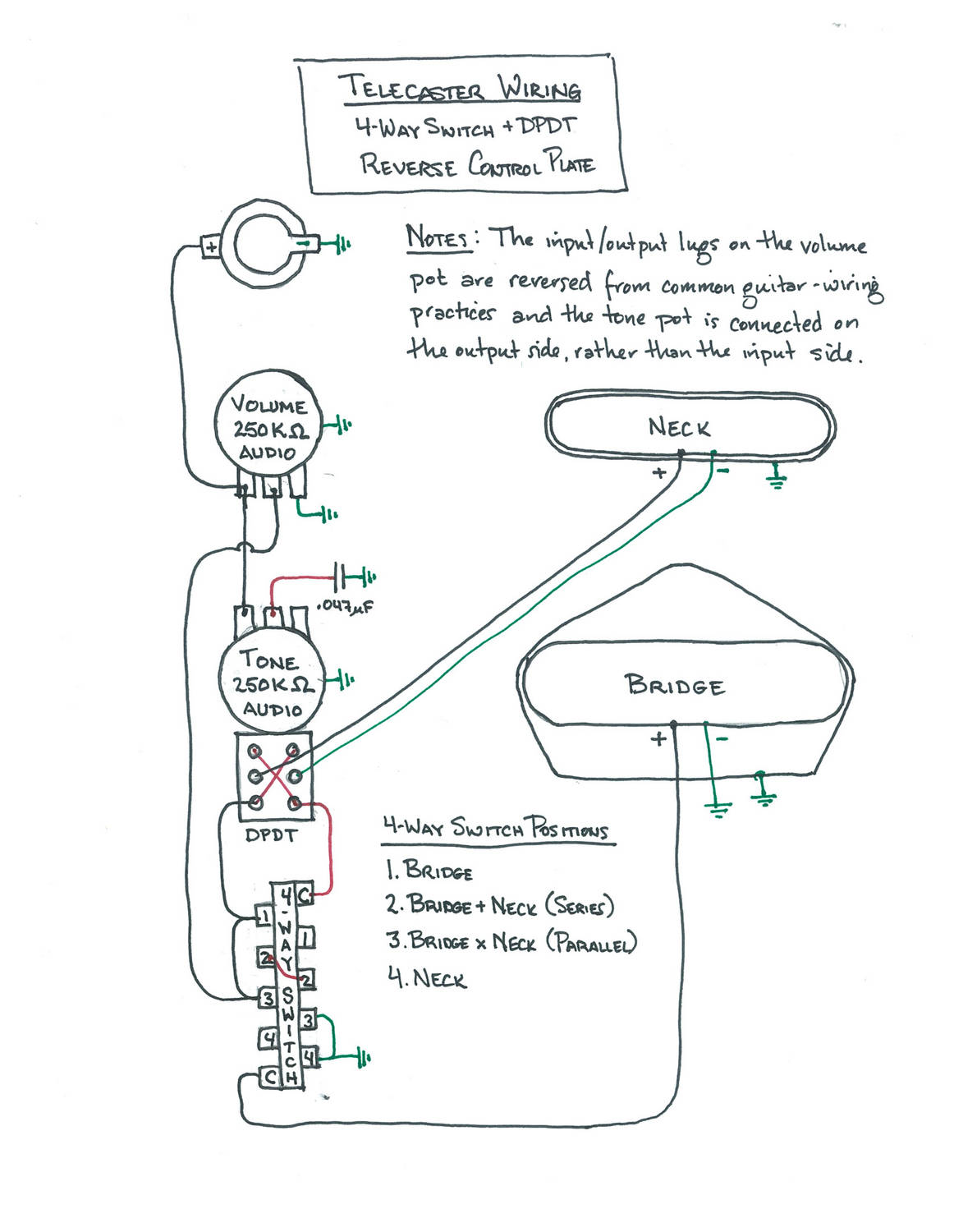 Wiring Diagram: Tele 4-way switch with DPDT - reverse control plate