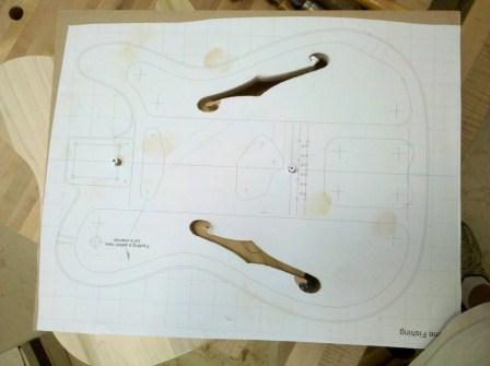 Thinline palletcaster my first build page 2 for Guitar f hole template