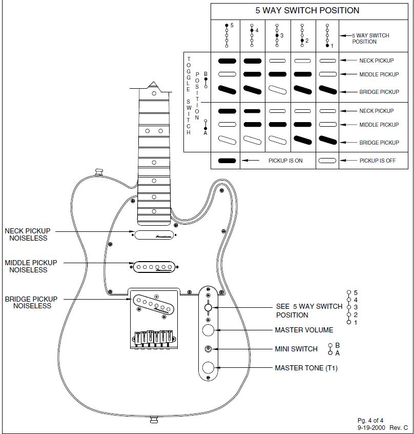 Wiring Diagram For Telecaster Pickups : Fender noiseless tele pickups wiring diagram
